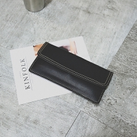 钱包女长款两折日韩学生小清新复古个性信封简约搭扣折叠钱夹