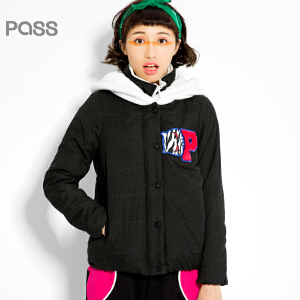 PASS原创潮牌冬装 潮流假两件式高领防风棒球服休闲加厚短款棉服女6540842045