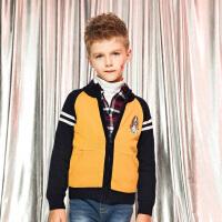 【3件3折:155.7元】暇步士童装冬季新款男童针织衫时尚撞色开身双层针织衫儿童针织开衫