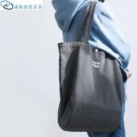 帆布手提袋 大容量环保复古男女原创购物袋猫西健身单肩袋包女蓝色 纵向大号