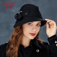 卡蒙黑色呢子复古帽子女秋冬欧美小礼帽英伦爵士帽全羊毛毡帽保暖2783