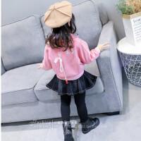 韩版童装冬季新款女童时尚短款双层加绒西装领棒球服外套B7-S27