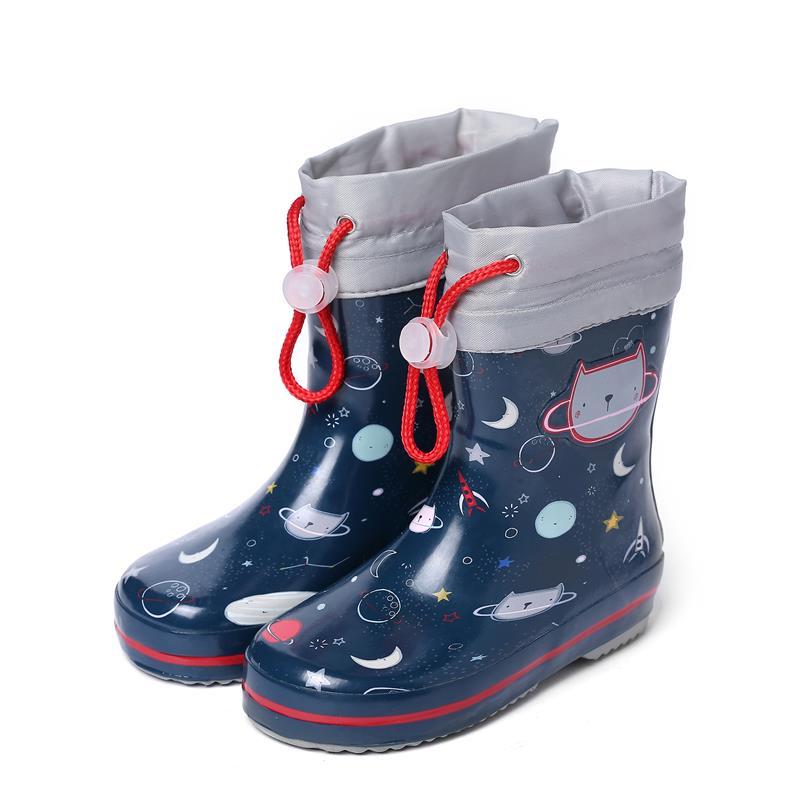 儿童雨鞋男童胶鞋防滑中大童雨靴宝宝女水鞋小童学生小孩四季通用 天蓝色 蓝色太空