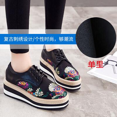 松糕鞋女厚底2018新款秋季韩版百搭坡跟英伦风网红单鞋休闲女鞋潮