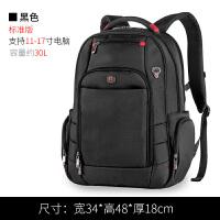 d男士双肩包男背包户外大容量17寸电脑包旅游包休闲运动旅行包 黑色-30天退换+质量三包+运费险