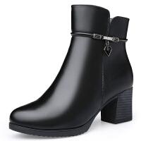 2018新款秋冬季中老年百搭短靴保暖加绒女棉鞋靴子中跟防滑妈妈靴SN0251