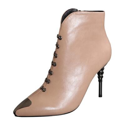高跟马丁靴2018秋冬新款金属尖头短靴秋冬裸靴女时尚百搭骑士靴潮