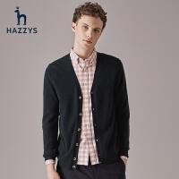 Hazzys哈吉斯休闲男士针织开衫秋季新品男装上衣潮男修身羊毛衫
