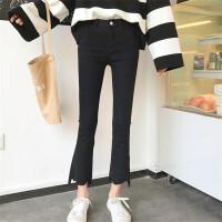 高腰牛仔裤女秋冬新款韩版b纯色修身显瘦不规则九分裤喇叭裤 黑色