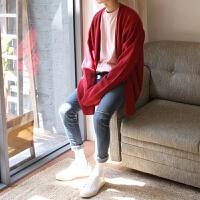 男士针织开衫毛衣开衫毛衣宽松外套厚纯色潮男宽松开衫