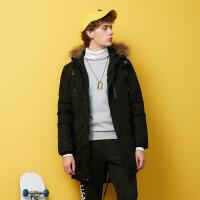 美特斯邦威旗下 4M羽绒服男中长款冬季迷彩连帽派克羽绒外套