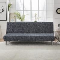简约现代防滑弹力无扶手沙发套折叠沙发床包套罩四季通用 灰色 蓝树叶
