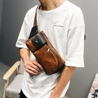 男士皮质胸包斜挎包小背包潮包休闲腰包单肩包2018新款韩版男包