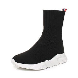 Teenmix/天美意2017冬黑色纺织品厚底休闲风潮流袜筒靴女靴CBR61DZ7