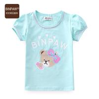 【秒杀款 限购一件】binpaw中大童短袖T恤 夏季花边儿童体恤衫2018童装 夏装女童上衣