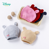 迪士尼Disney童装草莓熊针织儿童帽子秋季新款男女宝宝纯棉罗纹保暖休闲帽183P807