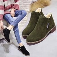 女式 秋冬新款百搭低跟棉靴粗跟马丁靴女厚底舒适加绒圆头短靴女