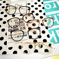 韩版学院复古圆形金属全细框平光镜文艺原宿男女配近视眼镜框架潮