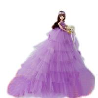芭比娃娃套装大礼盒换装婚纱娃娃女孩公主生日礼物超大裙摆洋娃娃 高45厘米,超大拖尾