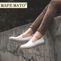 玛菲玛图英伦风女鞋子女2018新款乐福鞋 2厘米单鞋小皮鞋小白鞋设计师女鞋M19813782T7B