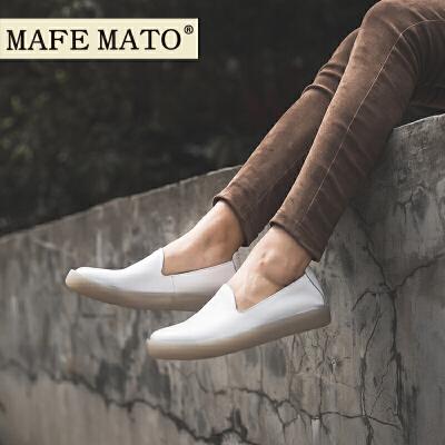 玛菲玛图英伦风女鞋子女2018新款乐福鞋 2厘米单鞋小皮鞋小白鞋设计师女鞋M19813782T7B原创设计女鞋,晒图有红包。