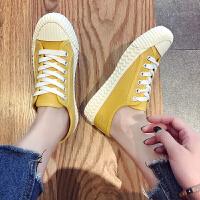 帆布鞋 女士学生简约糖果色彩运动鞋2019夏季新款韩版时尚女士百搭休闲鞋女鞋布鞋