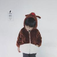 秋冬男女童加绒加厚可爱毛绒外套咖色保暖连帽拉链衫棕色可当棉衣