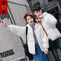 棉衣男冬季韩版学生青年棉袄男中长款加厚大码情侣面包服外套 S 90斤以下