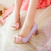 春季韩版大童蝴蝶结儿童鞋女童皮鞋小女孩高跟鞋公主鞋舞蹈表演鞋