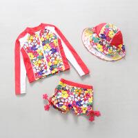 儿童泳衣长袖分体保暖防晒女童沙滩冲浪服三件套韩国 鲜花朵朵开