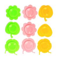 W辅食碗 婴儿童餐具吸盘贴 宝宝碗吸盘碗双面垫O 随机形状颜色(两只装)