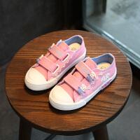 2018春款儿童帆布鞋女童鞋公主鞋跑步鞋休闲鞋运动鞋板鞋女韩版鞋 粉红色 1808