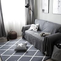 北欧黑白简约现代客厅沙发茶几地毯卧室床边地垫满铺长方形可机洗