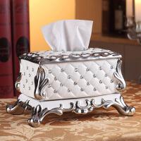 家用装饰美式 欧式纸巾盒摆件奢华陶瓷纸抽盒客厅茶几装饰品抽纸盒