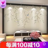 新是式素色花鸟墙布壁画客厅电视背景墙壁纸整张影视墙装饰画品质保证 墙纸+胶水