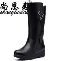 真皮羊毛女靴子高筒厚底坡跟棉靴加绒保暖女春靴平底棉鞋大棉春鞋 黑色