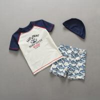 儿童泳衣男童鲨鱼泳衣裤套装男孩小童防晒游泳衣韩版宝宝送帽 米白色