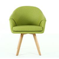 单人沙发椅北欧现代简约实木电脑椅子家用布艺懒人餐椅休闲椅阳台 实木脚 固定扶手