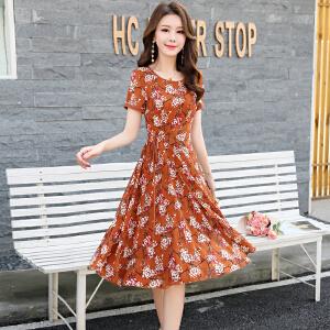 风轩衣度 2018年夏季大摆型套头圆领花色连衣裙不对称短袖拼接雪纺高腰 2361-1602