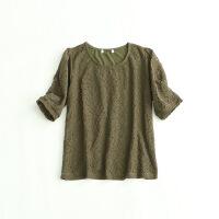 新款女短袖T恤 圆领简约气质蕾丝拼接体恤衫L