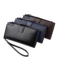 牛皮男士长款钱包横款拉链搭扣黑手拿包多卡位手抓包手机包