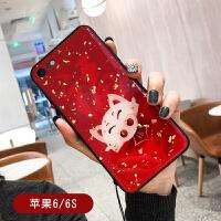 本命年苹果Xs Max手机壳挂绳iPhone7刺绣猪套8plus创意6sp女款冬 苹果6/6S 红色福猪