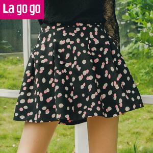 Lagogo2017秋冬季新款波点高腰蓬蓬裙半身裙花苞裙短款女裙子A字