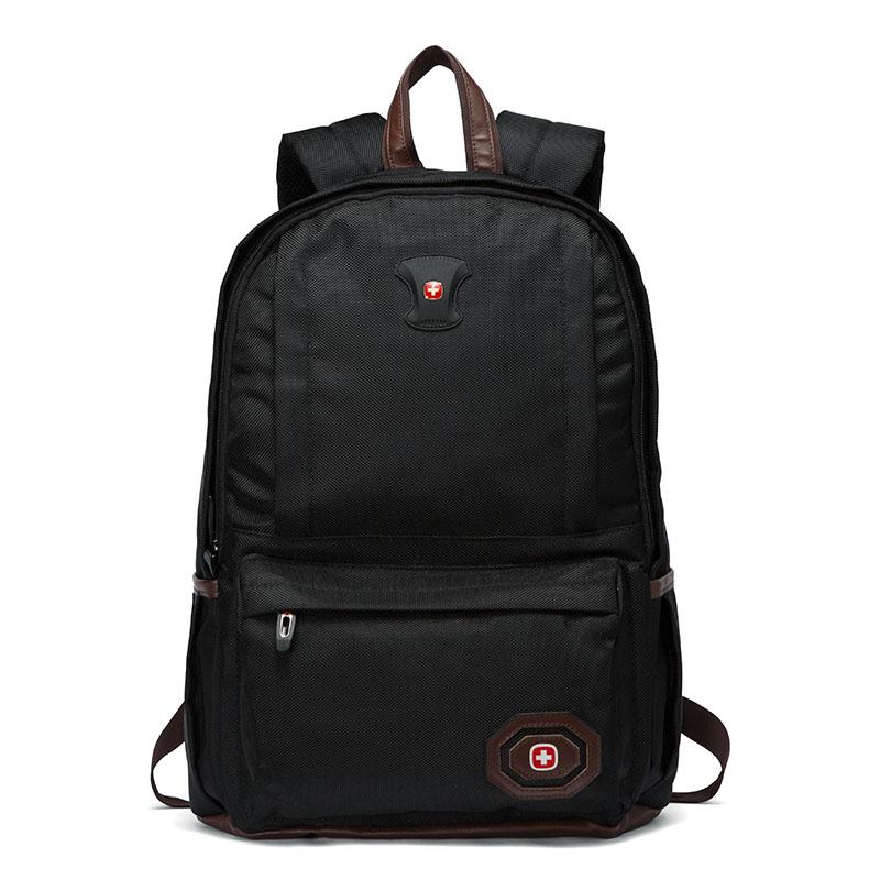瑞士军刀电脑包男士 双肩包男休闲 商务双肩背包 15.6寸笔记本手提电脑包防水书包男 黑色 黑色