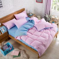 ???纯色简约全棉素色双拼四件套纯棉1.8/2.0m床品三件套床笠床单被套