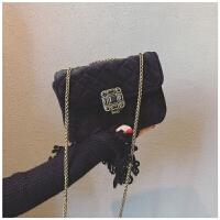 小香风包包女新款潮复古锁扣小方包丝绒菱格链条包单肩斜挎包