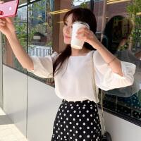 韩都衣舍2019夏装新款韩版上衣宽松显瘦气质轻熟雪纺衫女PV9007��