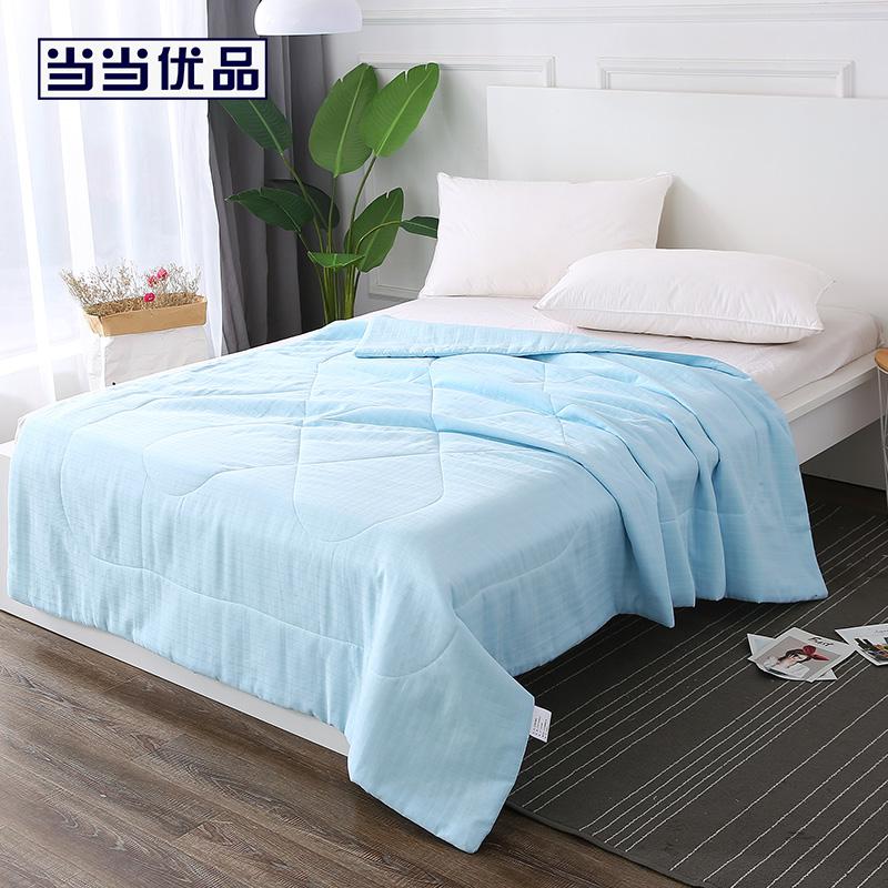 当当优品夏凉被 全棉双层纱透气纤维空调被150x200cm 天空蓝