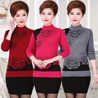 中老年妇女装秋冬装半高领针织衫40-50岁中年人妈妈装毛衣打底衫