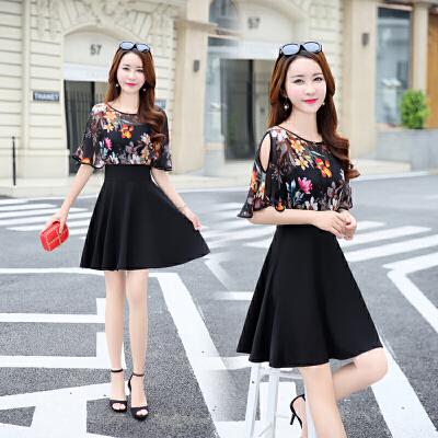 假两件套雪纺连衣裙女夏2018女装印花气质收腰显瘦A字裙短裙夏天